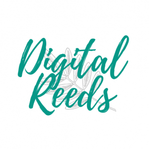 digital reeds logo with leaf
