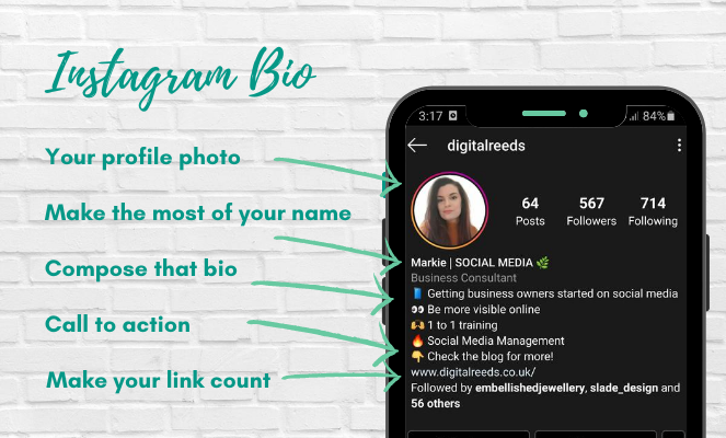 Mobile phone graphic showing an instagram profile