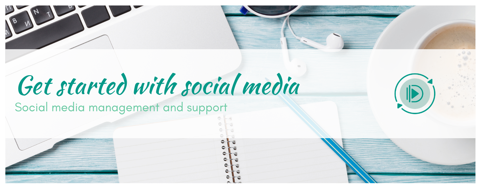 get started with social media - laptop and coffee cup